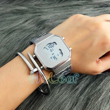 Fashion Silver Gold Rose Stainless Square electronic Women Watch