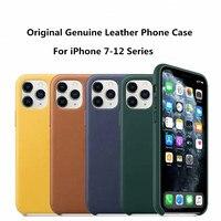 Funda de teléfono de cuero genuino para iphone, carcasa trasera de lujo original para iPhone X XR XS max 11 12 pro Max con caja