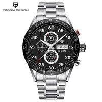 Heißer luxus PAGANI design 42mm Schwarz Zifferblatt Multifunktions Quarz chronograph tachymeter herren UHR-in Quarz-Uhren aus Uhren bei