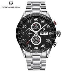 Hot luxury PAGANI design 42mm czarna tarcza wielofunkcyjny kwarcowy z chronografem tachymetr męski zegarek