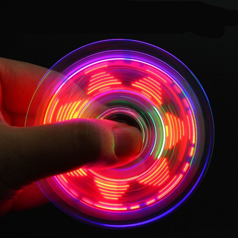 Novelty Multiple Changes LED Fidget Spinner Luminous Hand Top Spinners Glow In Dark EDC Stress Relief Toys