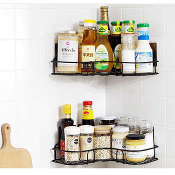 2PCS Traceless Paste Hook Kitchen holder No punch corner Storage holder Bathroom Shelves Convenient iron angle racks