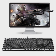 Computer mechanical keyboard 104 keys Blue Switch Gaming Keyboards Waterproof Retro Punk Keycap for laptop Desktop
