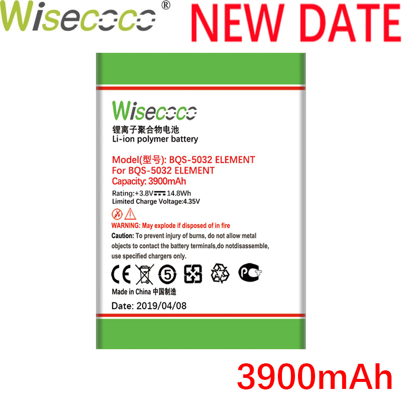 Wisecoco BQS5032 3900mAh Newly Produced Battery For BQ BQS 5032 BQS-5032 Element Mobile Phone Battery Replace + Tracking Number