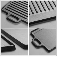 Cast Iron Uncoated Rectangular Double Sided Barbecue Tray Striped Iron Plate Outdoor Grill Tool Meat Steak Baking Tray