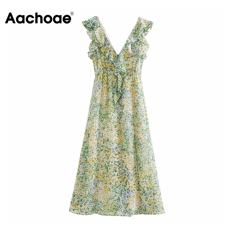 Aachoae Women Boho Floral Print Long Dresses 2020 Vintage Ruffled Split Chiffon Dress Summer Sleeveless Party Dress Robe Femme