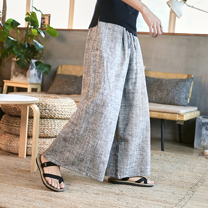 Man Cotton Linen Wide Leg Pant Men Casual Stripe Straight Trousers 2020 Male Traditional Chinese Style Pants Trousers 2020 New