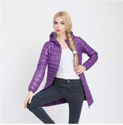 Fitaylor Autumn Winter Women Ultra Light Duck Down Coat Hooded Jackets Slim Medium Long Plus Size Parkas Thickness Overcoat 3