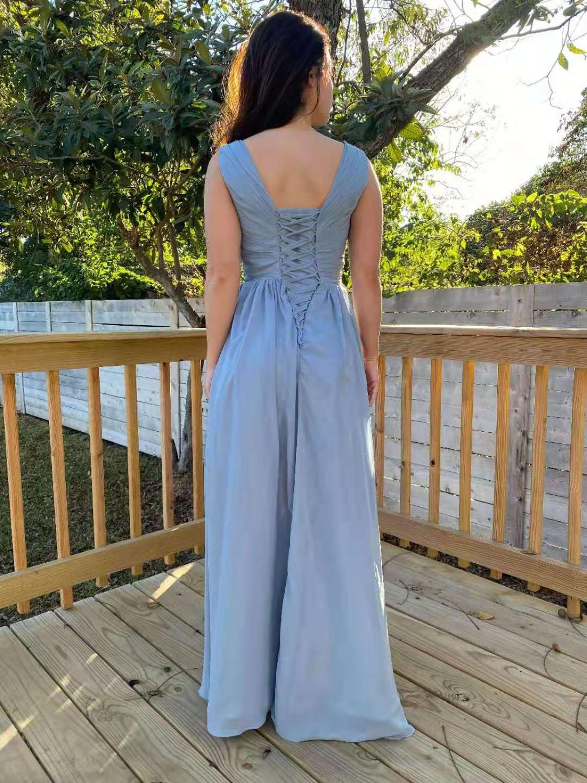 Elegant A-Line Chiffon Long Bridesmaid Dresses with Pockets Floor Length Custom Corset Back Side Slit Wedding Party Dresses
