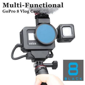 Ulanzi metalowa klatka Vlog do Gopro Hero Black 8 przedłużka do montażu na zimno do mikrofonu LED Light tanie i dobre opinie