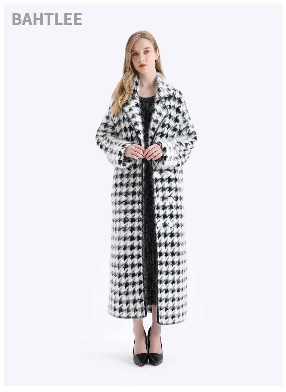 BAHTLEE Women Angora Long Coat Houndstooth Pattern Sweater Winter Wool Knitted Cardigans Jumper Turn Down Collar Long Sleeves 6
