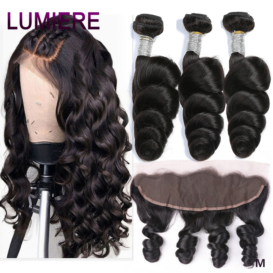 Lumiere Hair Hair-Weave-Bundles Frontal Ear-Closure Brazilian with 13--4 To 100%Remy