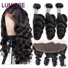 Lumiere cabelo brasileiro tecer pacotes com frontal 13*4 orelha a orelha fechamento pacotes de onda solta com frontal 100% remy