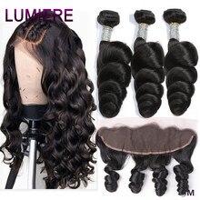 Lumiere saç brezilyalı saç örgü demetleri ile Frontal 13*4 kulak için kulak kapatma gevşek dalga demetleri ile Frontal 100% Remy