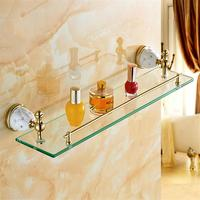 Bathroom Shelves Solid Brass Golden Shower Wall Holder Shampoo Storage Rack Bath Accessories Single Tempered Glass Shelf