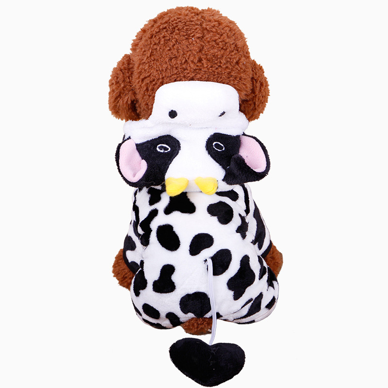 Novelty Cow Themed Jumpsuit With Hoodie For Pet Dogs Puppies Animals Comfort Fit thumbnail