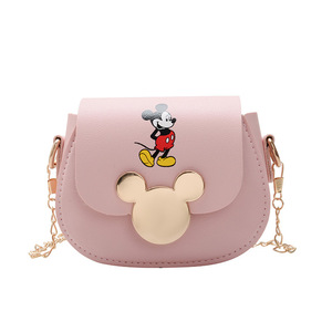 Disney mickey mouse pu messenger shoulder bag 2020 new bag female mini children coin purse fashion Mickey pattern chain bag(China)