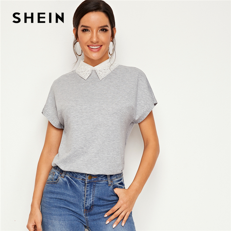 SHEIN Grey Contrast Embroidered Organza Collar Casual T-Shirt Women Tops 2019 Autumn Batwing Slee Button Back Basic Tee Tops