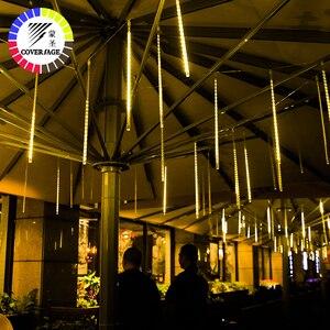 Image 2 - Coversage natal ao ar livre guirlanda luz led string fariy luzes decorativas 30 cm 50 cm chuva chuva chuveiro decorações do tubo