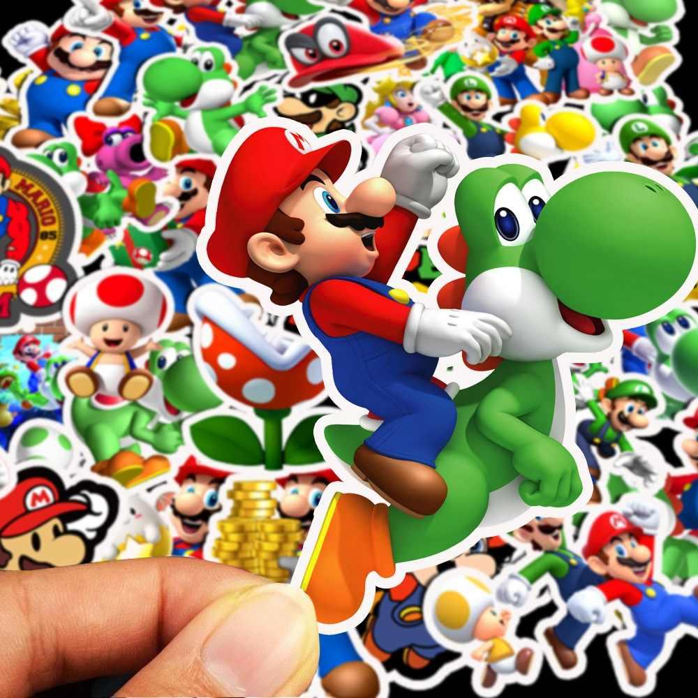 50 Buah/Bungkus Anime Permainan Super Mario Kartun Stiker Tahan Air Koper DIY Laptop Gitar Skateboard Mainan Anak-anak Stiker