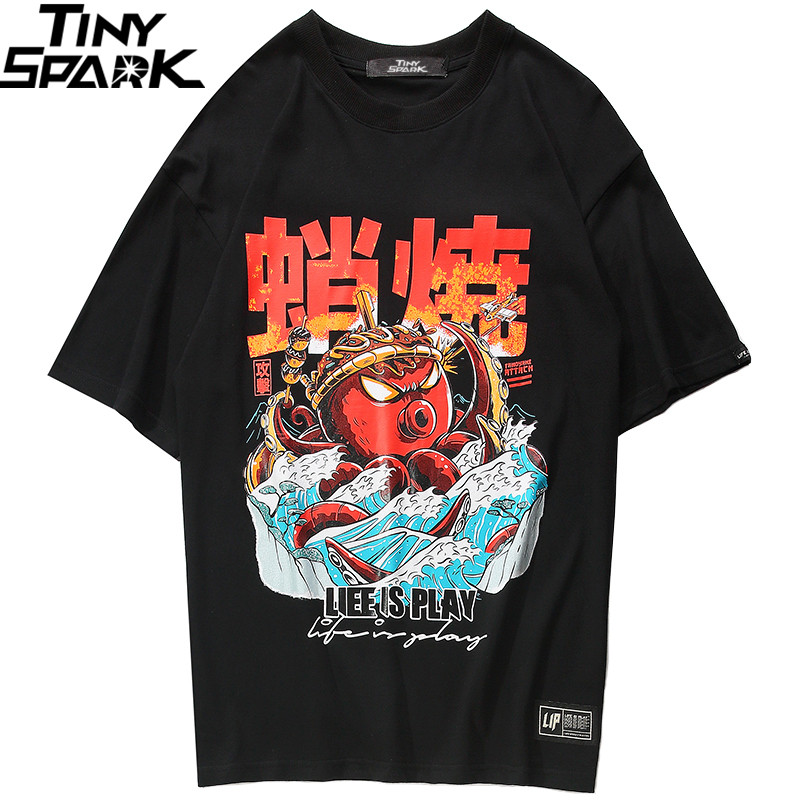 2019 Hip Hop T Shirt Streetwear Oversized Funny Octopus Men Harajuku T-Shirt Japanese Style Summer Tops Tees Cotton Tshirt Black