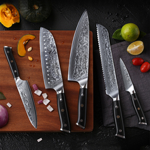 TURWHO High-Quality Kitchen Knives Set 5 PCS Super Sharp Japanese Damascus Steel Knives Kitchen Multi-Function Cooking Knife Set