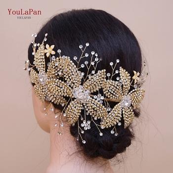 YouLaPan HP252-G złota korona ślubna tiara rhinestone ślubne włosy biżuteria złota akcesoria ślubne na włosy luksusowy kryształ diadem dla panny młodej tanie i dobre opinie Ze stopów żelaza Kobiety Pióro BOHEMIA Tiary Hairwear Moda Golden rhinestone Crystal Wedding headpiece Wedding hair accessories
