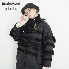 Пуховик imakokoni женский зимний черный плотный теплый свободного