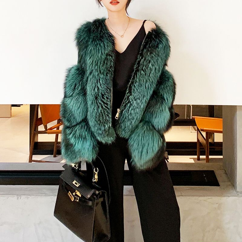 Rf1929S New Arrival Long Sleeve Woman's Silver Fox Fur Coat Natural Fur Jacket Full Pelt Real Fur Outwear