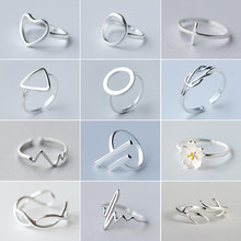 Jisensp Punk Silber Farbe Ringe für Frauen Geometrische Runde Herzschlag Blume Deer Knuckle Ring Mädchen Everyday Schmuck bague anillos(China)