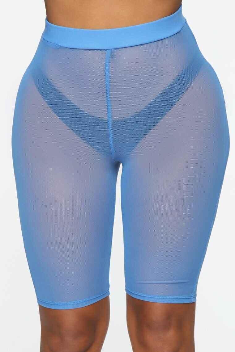 Mujeres verano Sexy ver a través de malla transparente Slim Fit Shorts ropa de playa troncos de cintura alta señoras trajes de baño maletero