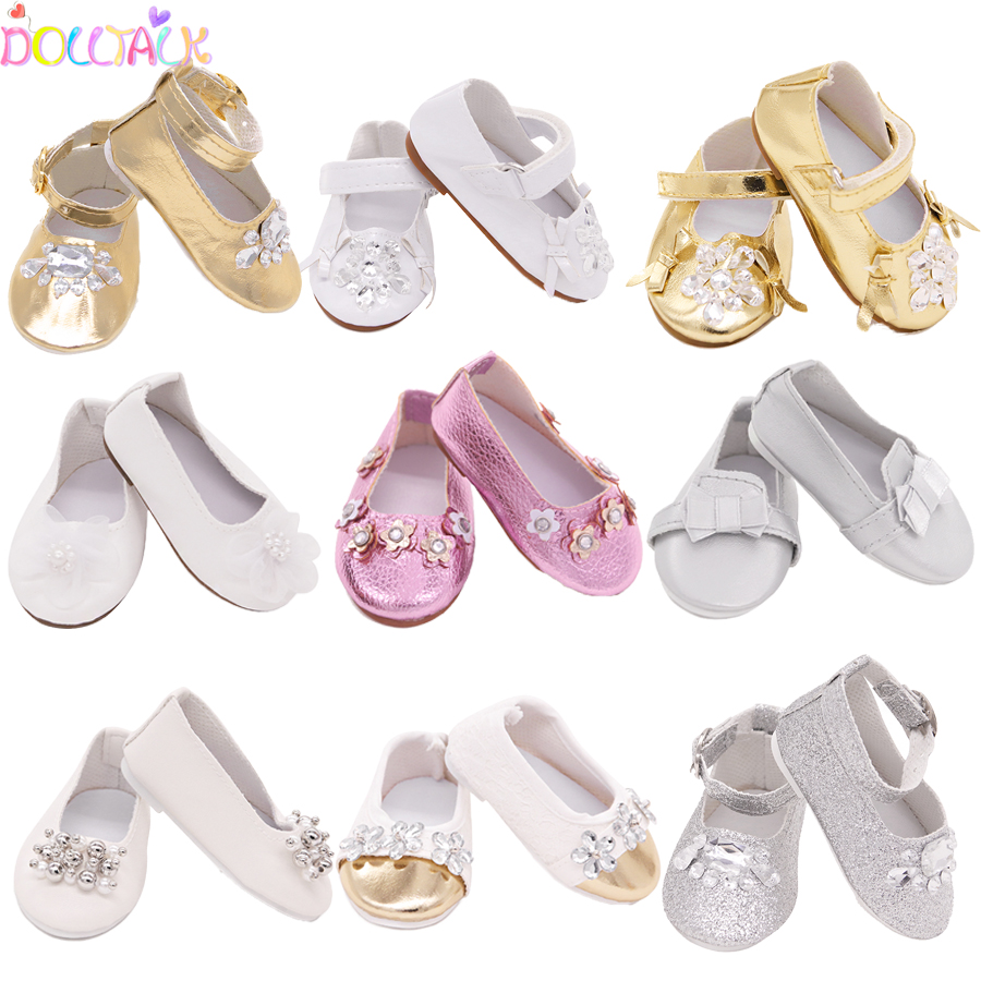 15 Style 7.5cm Delicate Doll Shoes For 18 Inch Girls Doll Mini Handmade Doll Shoes For 43 Cm Baby New Born Dolls Toy Accessories