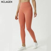 Nclagen calça de yoga feminina cintura alta, levantamento de quadril, fitness, exercício justo, nove pontos, leggings esportivas para academia