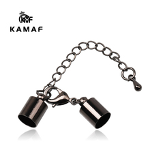 KAMAF 10pcs/pack Hole 3.5-9.5mm Lobster Clasps Hooks Extending chain Leather Cord Crimps End Tip Caps Connectors