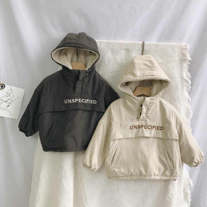 2019 hiver nouveauté style coréen coton lettres broderie épaissi manteau à capuche pour la mode mignon bébé filles et garçons