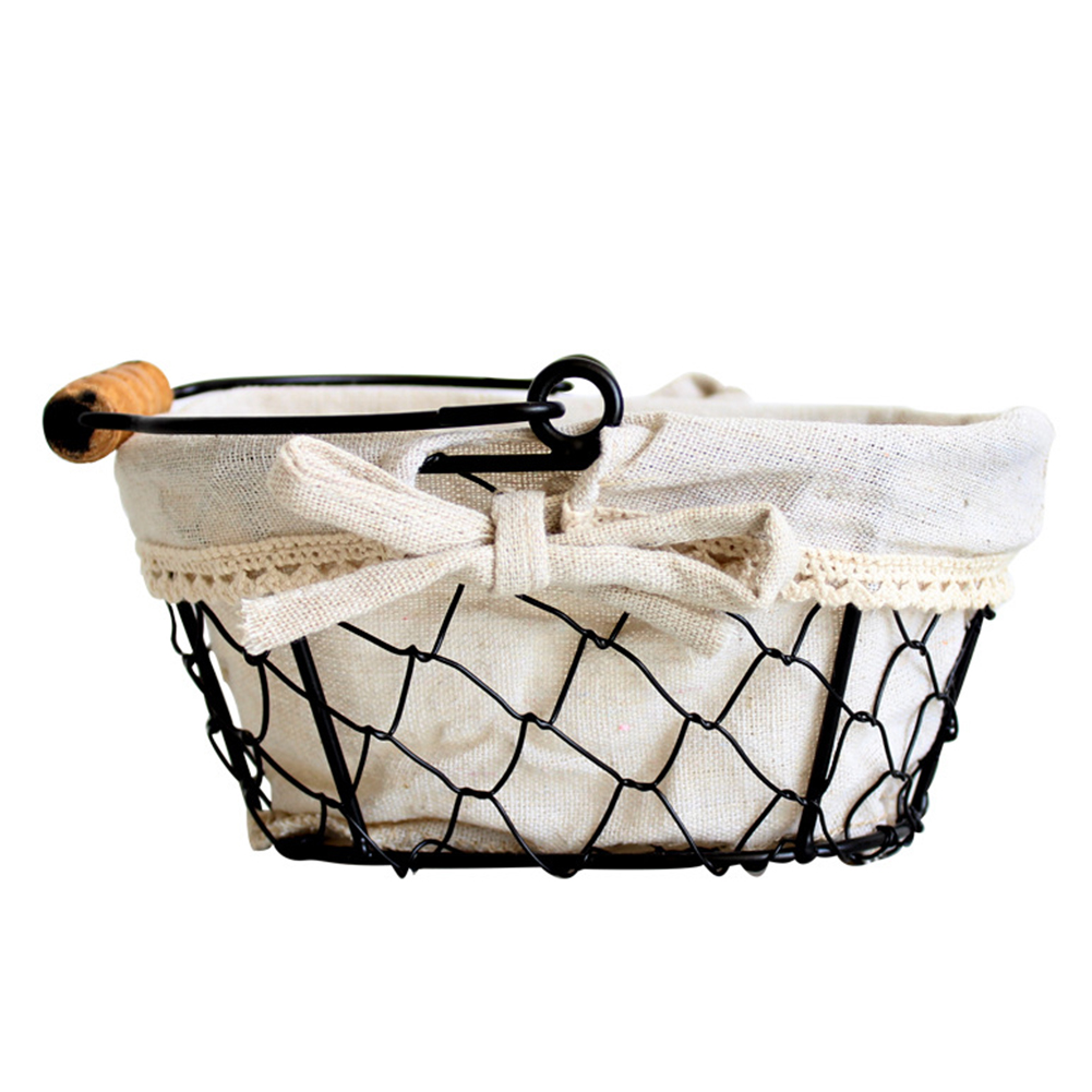 Kitchen Fruits Iron Frame Nordic Style Storage Basket Linen Lining Eggs Grocery Living Room Desktop Organizer Multifunctional