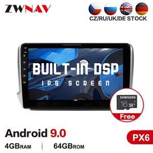PX6 4 + 64 Android 9,0 Автомобильный мультимедийный плеер для Peugeot 2008 2011-2019 автомобильный Радио Стерео GPS navi головное устройство сенсорный экран бесп...