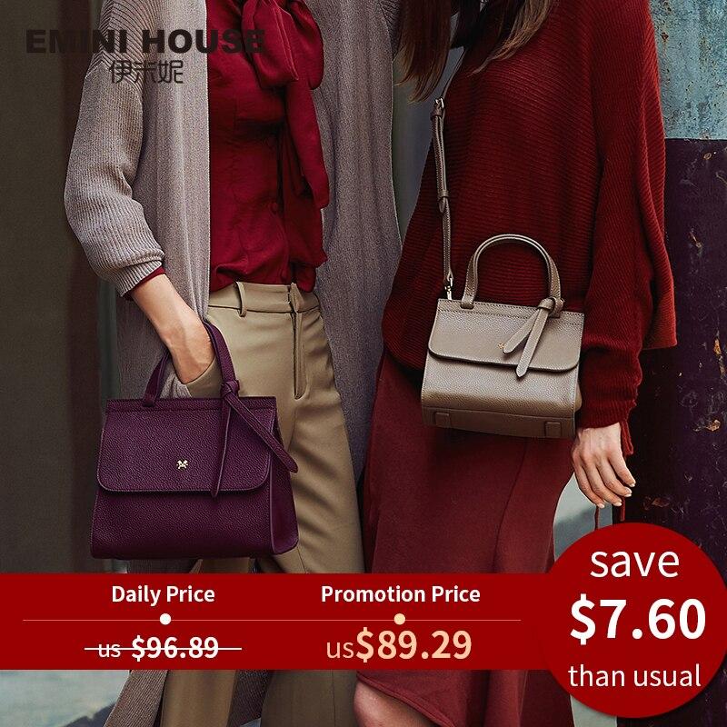 Women Bags Emini-House Shoulder-Crossbody-Bags Litchi-Grain Designer Genuine-Leather
