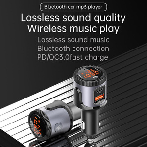 Image 2 - JaJaBor Bluetooth 5.0 Car Kit Handsfree Wireless Adapter Stereo FM Transmitter Car MP3 Player USB Quick Charge 3.0+PD Charger