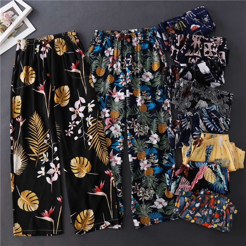Ladies Cotton Silk Plus Size Straight Wide Leg Fairy Long Pants Floral Printed Home Casual Style Women Home Pijama Pants