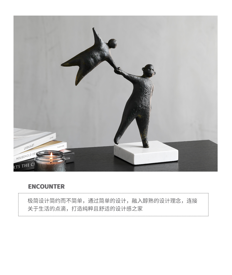 Estatueta de arte moderna mármore abstrato preto