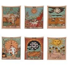 Mandala de la tarjeta de Tarot patrón manta tapiz tapices para colgar en la pared colcha de dormitorio a cubierta de sol Luna decoración de la pared de 95x73CM