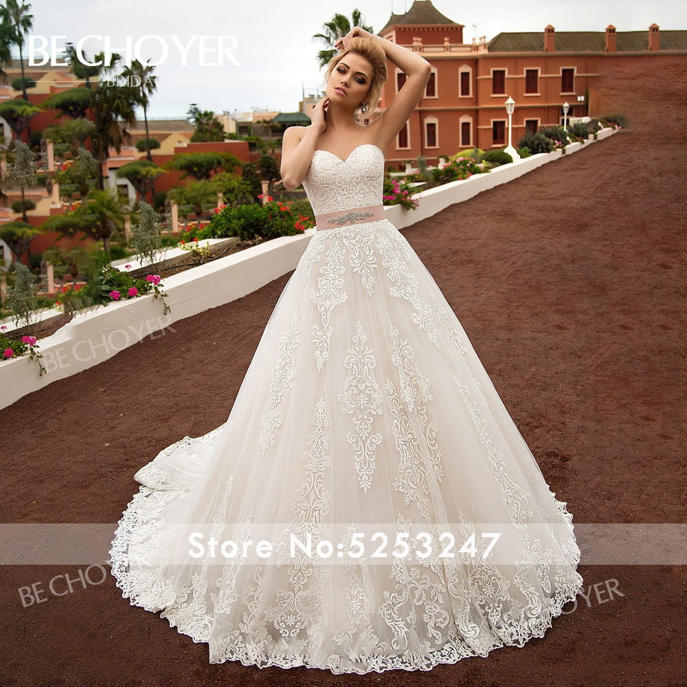 Image 4 - Fashion Detachable 2 In 1 Wedding Dress BECHOYER N239 Appliques Lace A Line Princess Crystal Belt Bride Gown Vestido de NoivaWedding Dresses   -