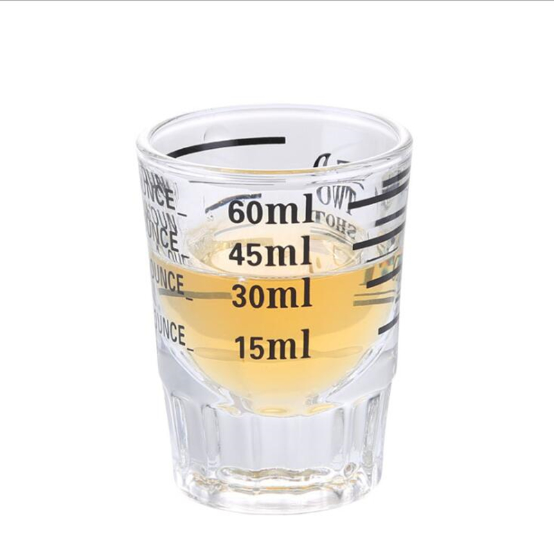 FEIGOLO Bar Cocktail Measuring Cup 30/ 60ML Transparent Glass Graduated Cup Coffee Tea Bartender Kitchen Measuring Cup FNS56