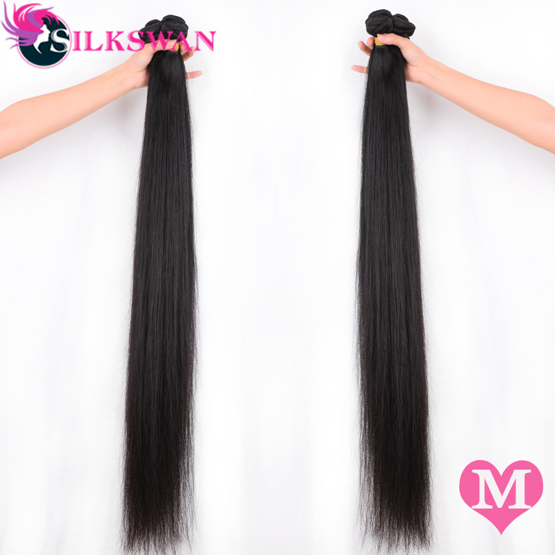 Silkswan Straight 10-30 Inch Middle Ratio Human Hair Extensions 100% Remy Hair 28 32 34 36 40 Inch  Brazilian Hair Weave Bundles