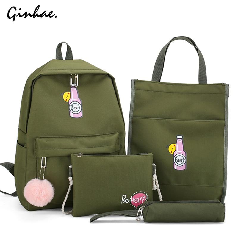 4Pcs/set Women Canvas Cartoon Bottle Backpack Preppy Style Shoulder Bag Large Capacity School Bag Multifuncation Travel Backpack