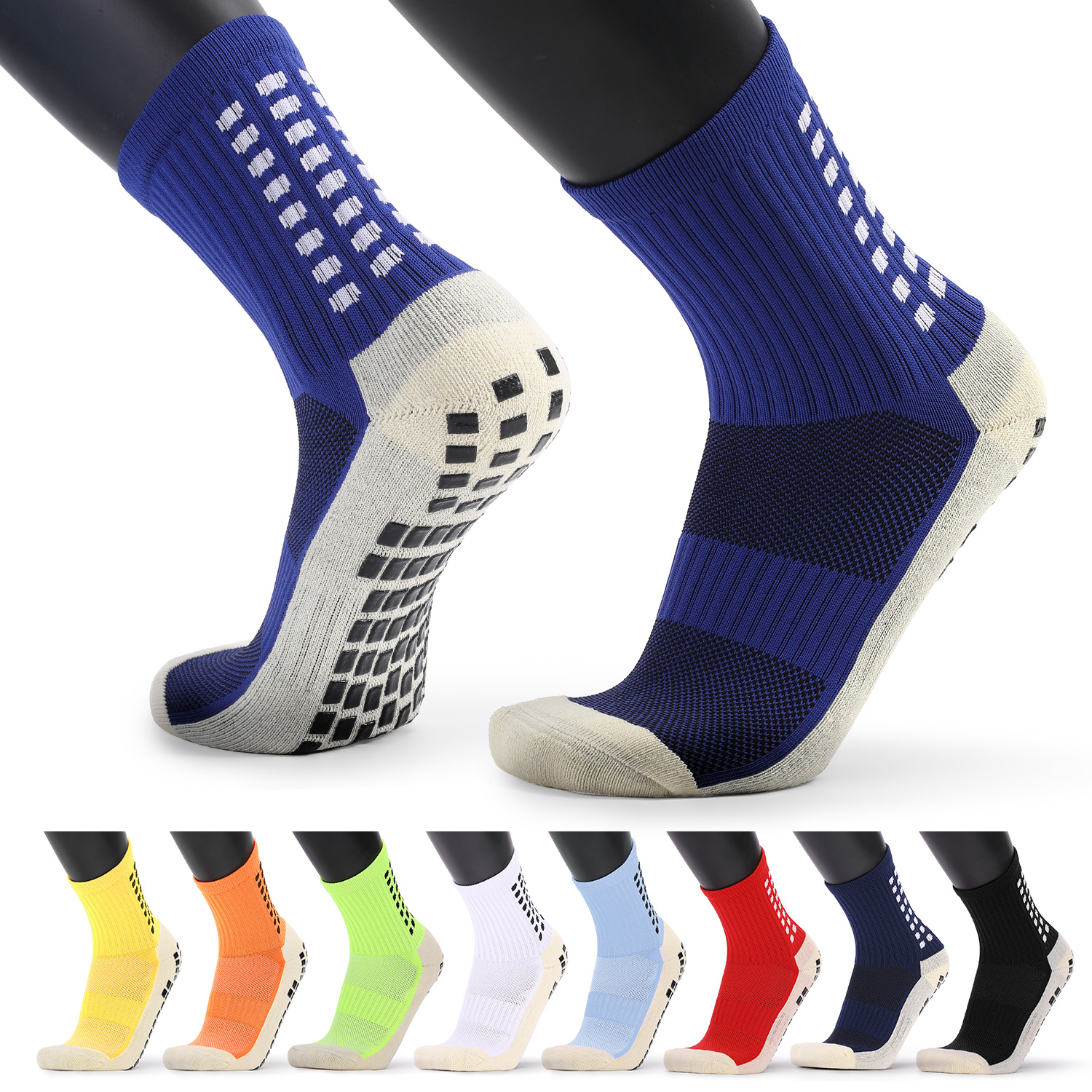 Men's Anti Slip Football Socks Athletic Long Socks Absorbent Sports Grip Socks For Basketball Soccer Volleyball Running
