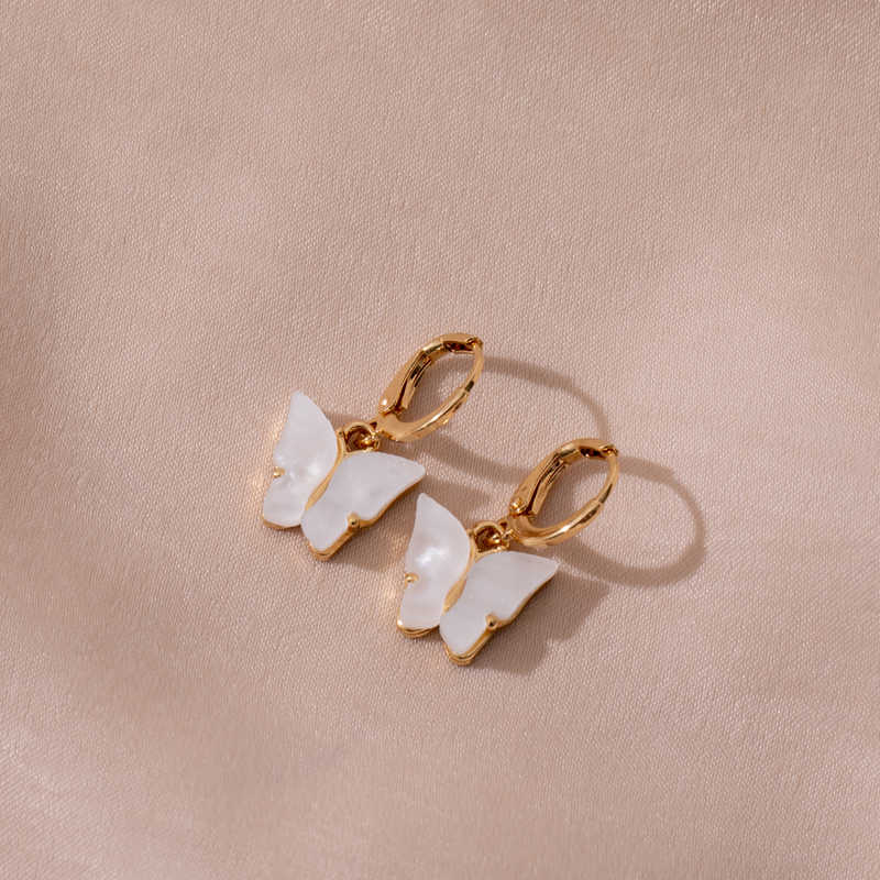 חמוד פרפר עגילים לנשים רחוב סגנון זרוק עגילים קוריאני אופנה להתנדנד עגילי מתנות תכשיטי Oorbellen