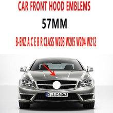 1 pçs 3d abs 57mm preto capô frente logotipo emblema do carro emblema acessórios para mercedes benz w203 w205 w204 w212 w211 w213 w124