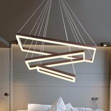 Kwadratowa lampa wisząca nowoczesny wisiorek LED światła do salonu ze zdalnym ściemnianiem domu oświetlenie sypialni oprawa restauracja Deco